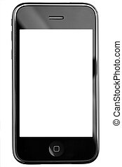 Modern touch screen phone isolated on white background. Clipping path for screen included.