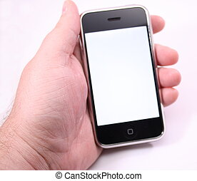White screen on a Modern touch screen popular phone mobile device for communication, music, internet and more.