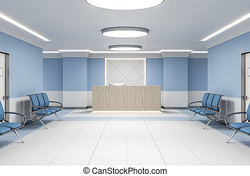 Modern waiting room in blue hospital interior