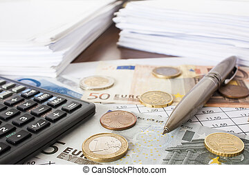Money, bills and calculator, accounting