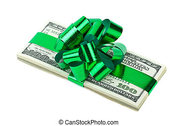 Pack of $100 banknotes tied with ribbon and bow isolated on the white background