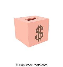 Money box donation cartoon icon. Pink box with dollar symbol