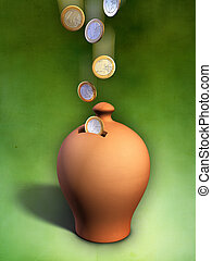 Euro coins entering a terracotta money box. Digital illustration, clipping path included.
