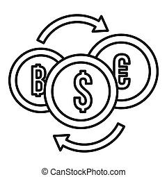 Money coin exchange icon, outline style
