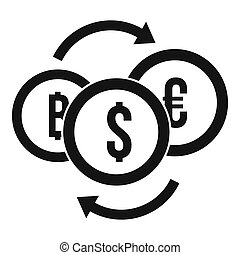 Money coin exchange icon, simple style