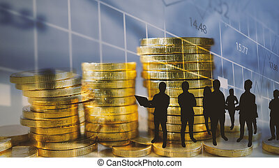 Money coins with financial graph. Business Growth concept.