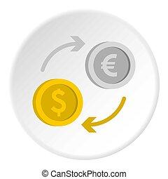 Money exchange icon circle