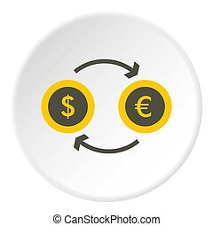 Money exchange icon, flat style