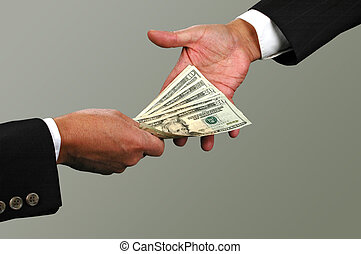 Money exchange between two businessmen (with Clipping Path)
