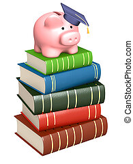Piggy bank with cap and books. Objects over white