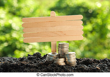 Money growth concept coins in soil