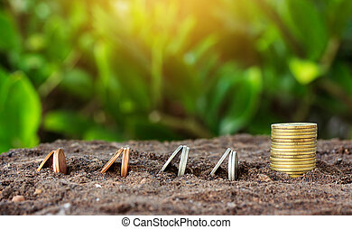 Money growth concept coins in soil. Yellow tone with sun