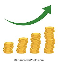 Illustration of coins, coins diagram, money growth. Rising graph