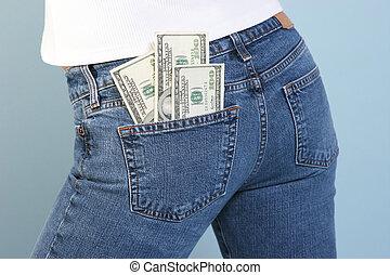 100 dollar bills in back jeans pocket