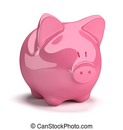 moneybox in the form of a pig. 3d image. Isolated white background.
