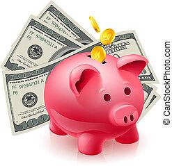 Moneybox - pig and dollars. Illustration on white