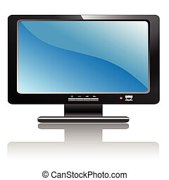 A Illustration LCD monitor with a design.