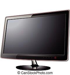 Monitor lcd, tv realistic vector illustration.