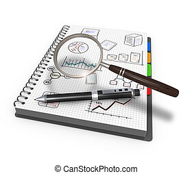 Magnifying glass and pen over graph as concept