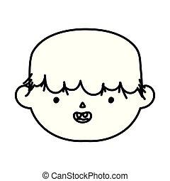 monster face teeth trick or treat happy halloweenline design
