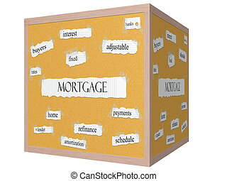 Mortgage 3D cube Corkboard Word Concept
