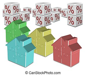 A group of colorful jigsaw puzzle houses and percentage symbols in the background
