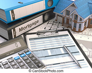 Mortgage application form, house, calculator and binders,
