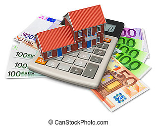 Mortgage concept: toy house on calculator on Euro banknotes isolated on white background