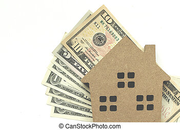 Mortgage loan and Dollar money property for concept with copy space