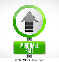 mortgage rate up arrow sign concept