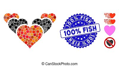 Mosaic Love Hearts Icon with Grunge 100% Fish Stamp