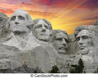 Mount Rushmore at Sunset, South Dakota, U.S.A.