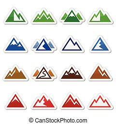 Mountain vector icons set