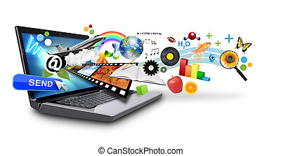 An isolated laptop has many objects projecting out of the screen on a white background. Use it for an email download concept or internet research idea.