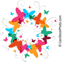 Multicolored Spring Butterfly design background