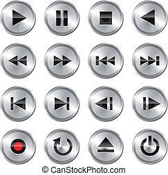 Metallic glossy multimedia control button/icon set. Vector illustration