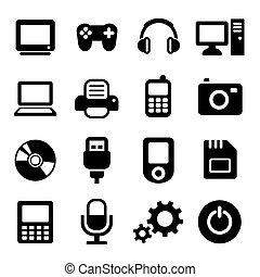 Multimedia gadget icons set