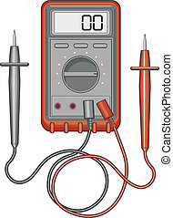 Illustration of a multimeter, also known as a volt/ohm meter or VOM, is an electronic measuring instrument . The vector format is easily edited or separated for print or screen print.