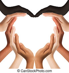 multiracial human hands making a heart shape on white background with a copy space in the middle