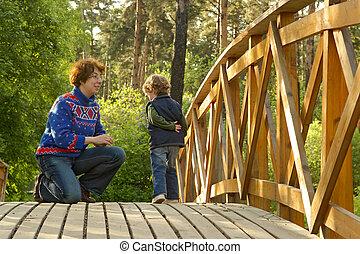 Mum and boy on the bridge