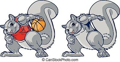 Muscular Squirrel Mascot Basketball Player Vector Cartoon