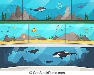 Museum aquarium. Underwater zoo children with parents watching big fishes vector horizontal banner