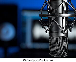 Microphone in the music recording studio , focus on the microphone, for music production, audio, entertainment themes