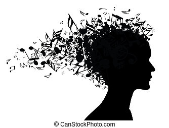 Woman portrait silhouette with notes as a hair