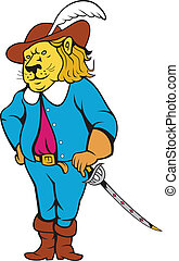 Musketeer Lion Hat Sword Cartoon
