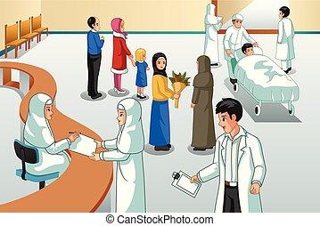 Muslim Hospital Scene Illustration
