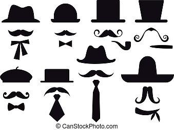 mustaches, hats and ties, gentleman vector set