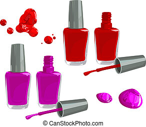 Bottles of nail polish, isolated on white background