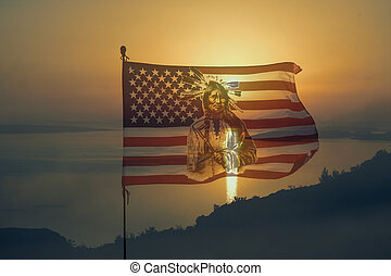 Nationaly american flag with indian in sunset