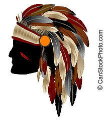 Native American Indian chief with feathers, isolated object over white background